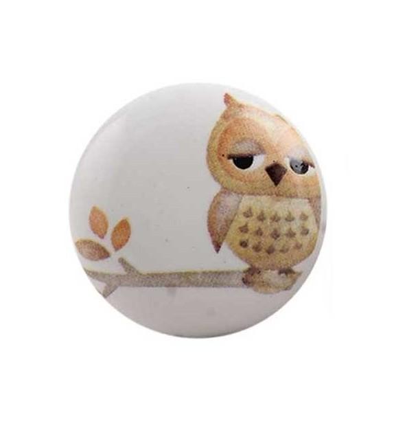 Bouton de meuble Hibou sur une branche enfant en porcelaine - Boutons Mandarine