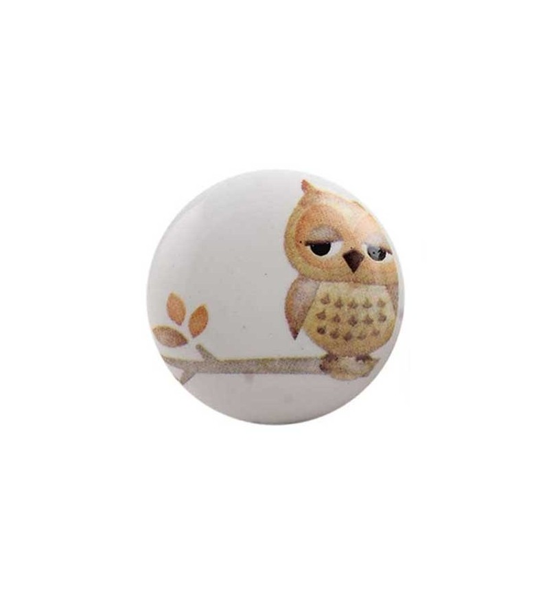 bouton de meuble hibou sur une branche enfant en porcelaine boutons. Black Bedroom Furniture Sets. Home Design Ideas
