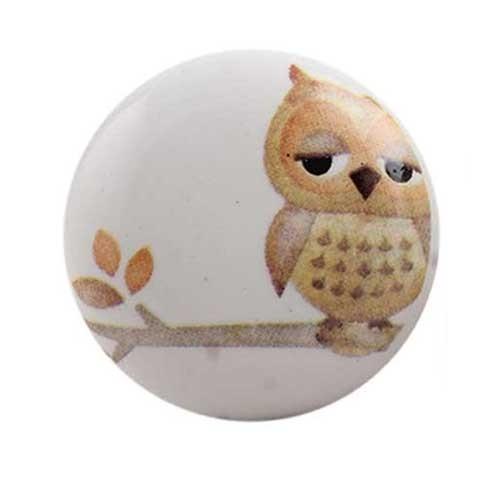 Bouton de meuble Hibou sur une branche enfant en porcelaine