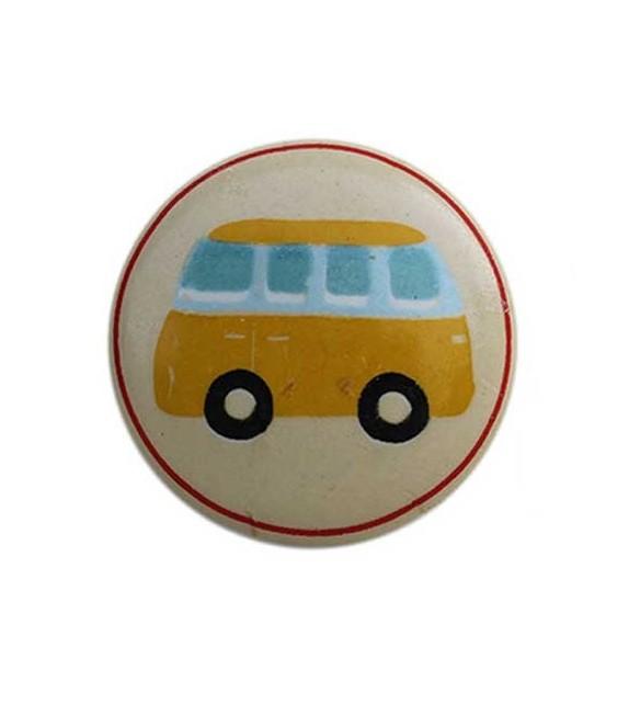 Bouton de meuble Transport Garçon enfant en porcelaine
