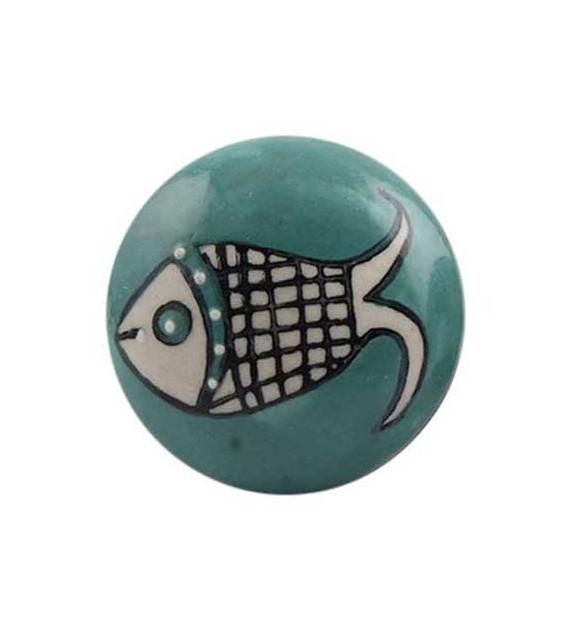 Bouton de meuble motif Poisson en porcelaine - Boutons Mandarine