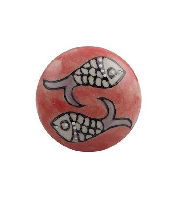 Bouton de meuble motif Poissons en porcelaine - Boutons Mandarine