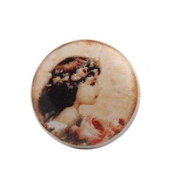 Bouton de meuble Jeune Fille aux Roses en porcelaine