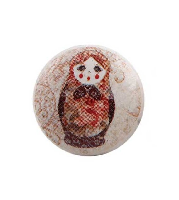 Bouton de meuble Poupée Russe Matriochka en porcelaine