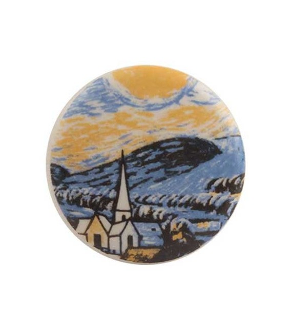 Bouton de meuble Van Gogh - La Nuit étoilée en porcelaine - Boutons Mandarine