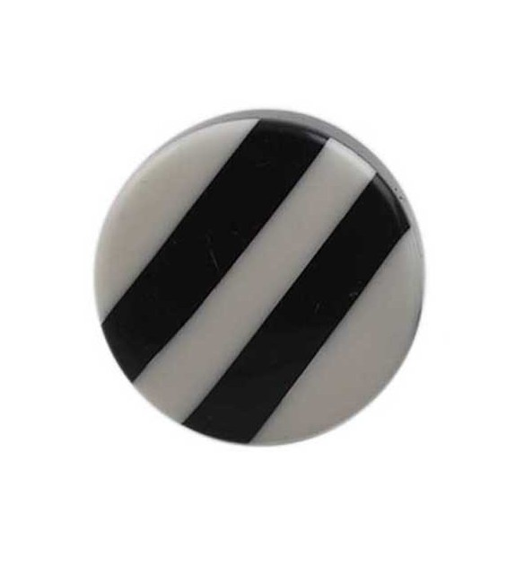 Bouton de meuble Bandes noires et blanches en résine - Boutons Mandarine