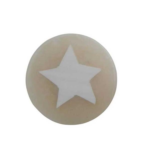 Bouton de meuble Etoile nacrée beige en résine - Boutons Mandarine