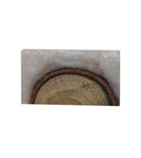 Bouton de meuble Wood rectangulaire en bois et résine - Boutons Mandarine