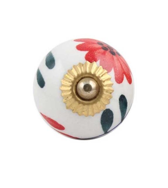 Bouton de meuble motif fleur rouge en porcelaine - Boutons Mandarine