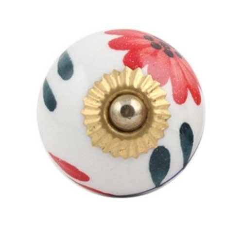 bouton de porte motif fleur rouge en porcelaine boutons. Black Bedroom Furniture Sets. Home Design Ideas