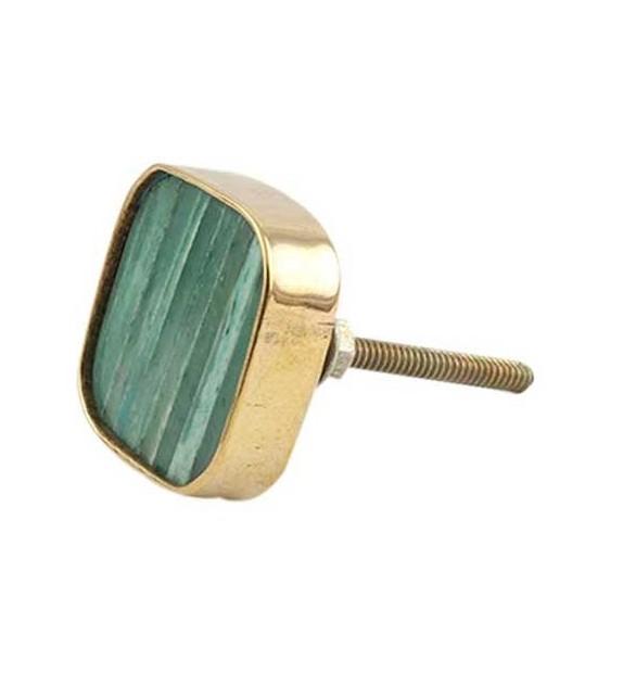 Bouton de meuble carré effet bois vielli et métal doré - Boutons Mandarine