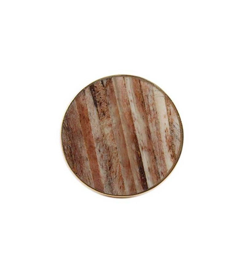 Bouton de meuble rond effet bois vielli et m tal dor for Bouton poussoir meuble