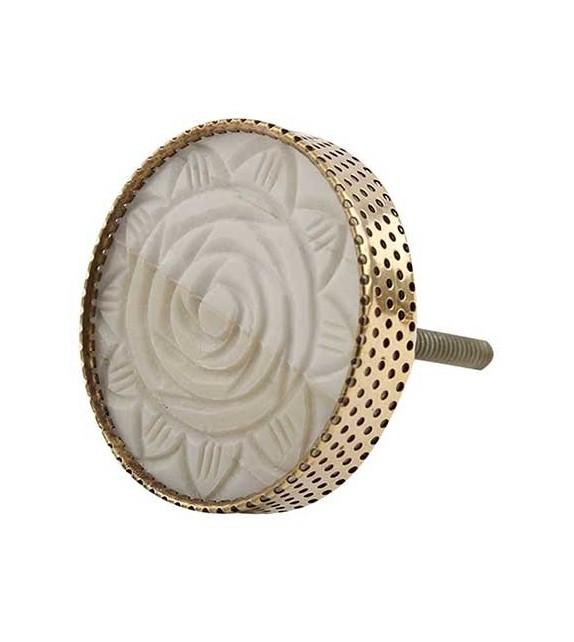 Bouton de meuble Rose sculptée en os et métal doré - Boutons Mandarine