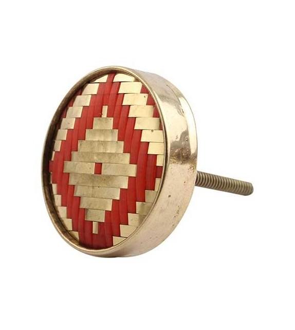 Bouton de meuble Losange ethnique et métal doré