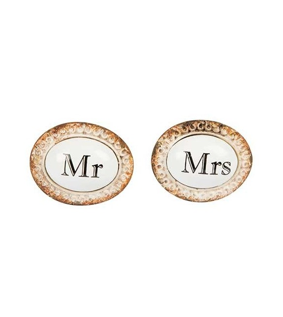 Boutons de meubles Mr et Mrs en porcelaine - Lot de 2