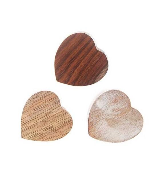 Boutons de meubles Coeur en bois - Lot de 3 - Boutons Mandarine