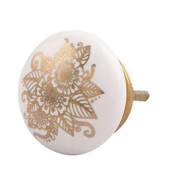 Bouton de meuble Calliopsis doré et porcelaine blanche - Boutons Mandarine