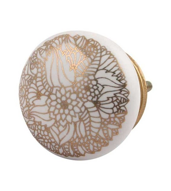 Bouton de meuble Calliopsis doré et porcelaine blanche