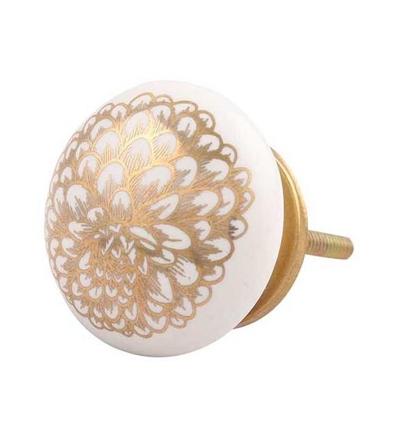 Bouton de meuble Fleur d'Oeillet dorée et porcelaine blanche - Boutons Mandarine