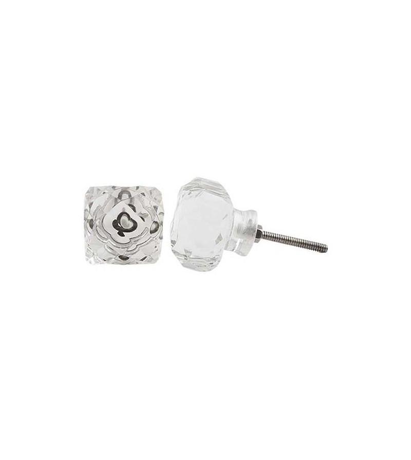 Bouton de meuble carr en verre el onore boutons for Bouton de porte en verre