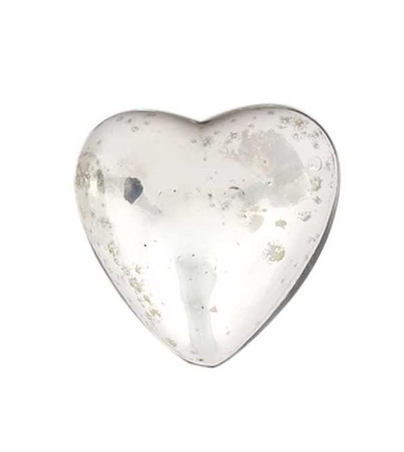 Bouton de meuble Gros Coeur en verre argenté - Boutons Mandarine
