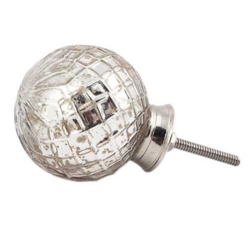 Bouton de meuble gros pommeau mercury en verre argent - Bouton de meuble en verre ...