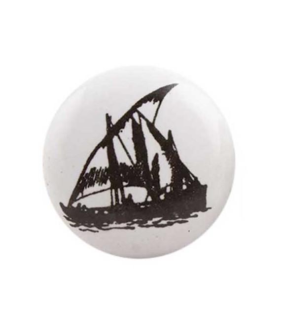 Bouton de meuble Bateau Voilier noir sur porcelaine blanche