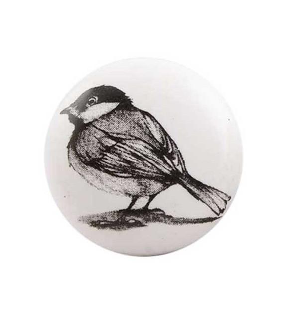 Bouton de meuble Oiseau noir sur porcelaine blanche