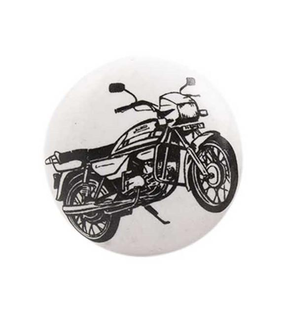 Bouton de meuble Moto noire sur porcelaine blanche
