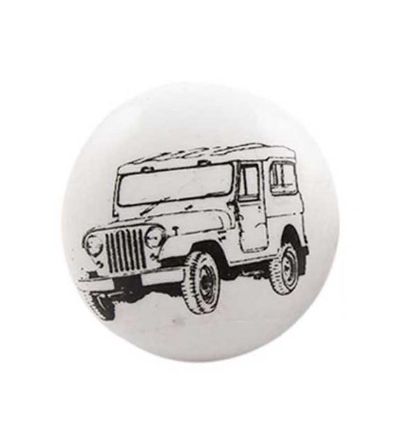 Bouton de meuble Voiture Jeep noir sur porcelaine blanche