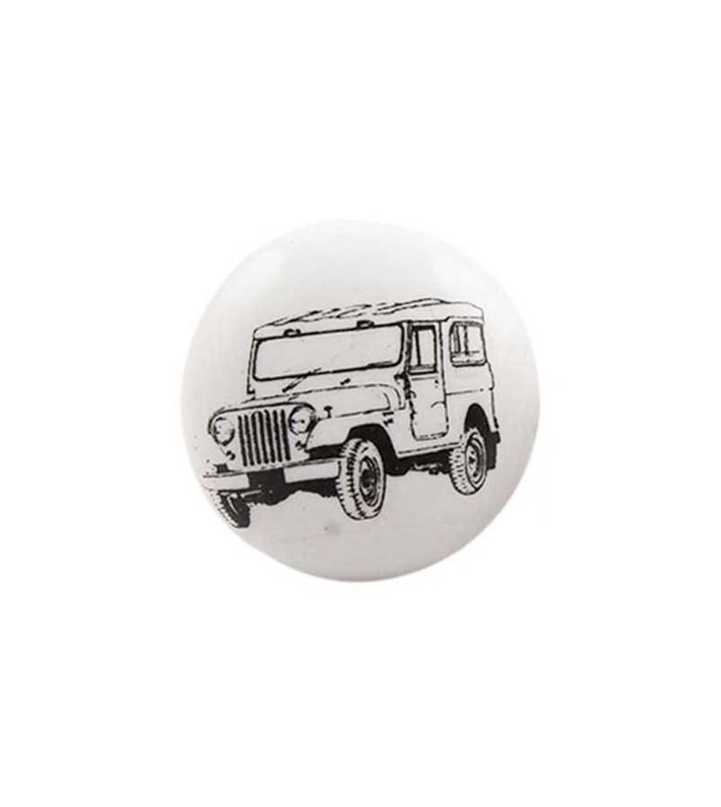 bouton de meuble voiture jeep noir sur porcelaine blanche boutons. Black Bedroom Furniture Sets. Home Design Ideas