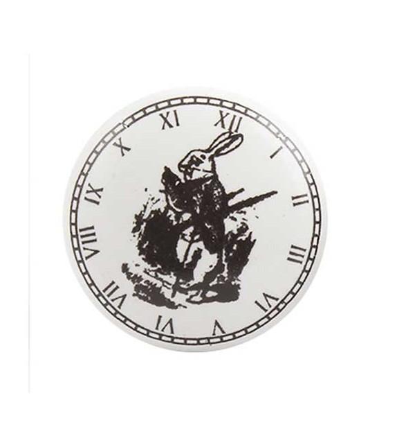Bouton de meuble Horloge Lapin Alice en porcelaine