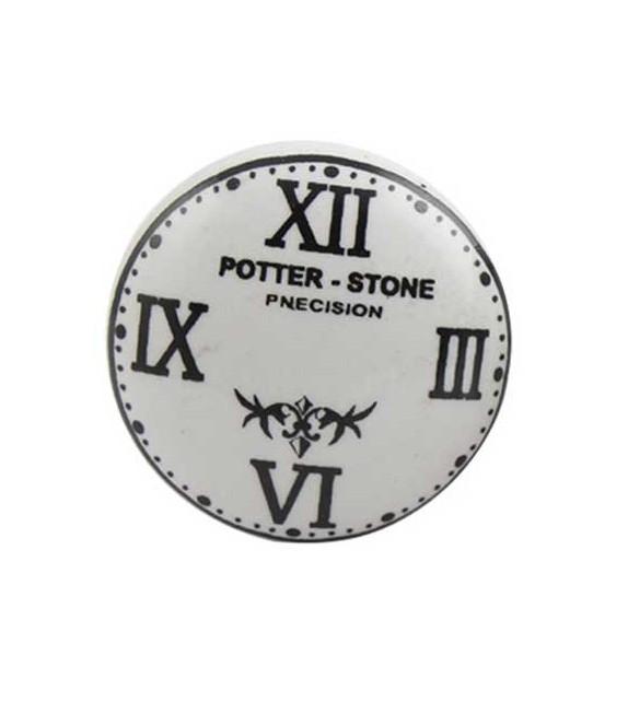 Bouton de meuble Horloge Potter Stone en porcelaine
