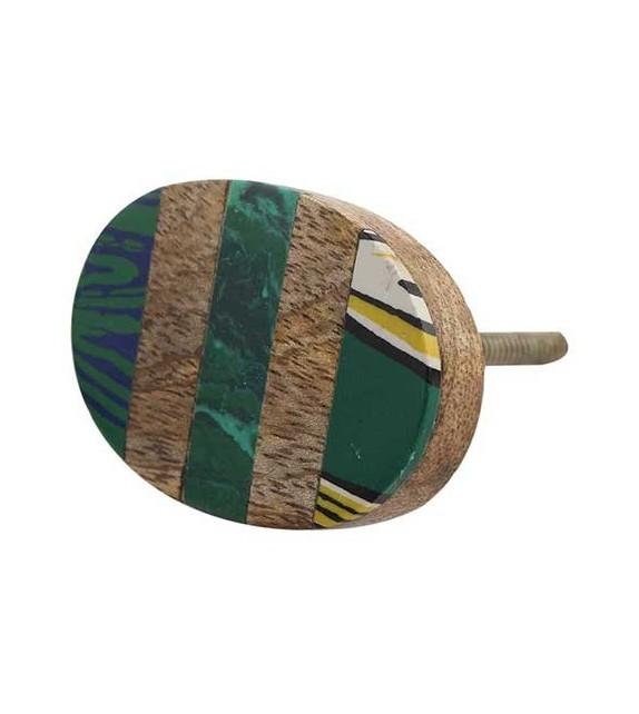 Bouton de meuble ethnique en bois - vert
