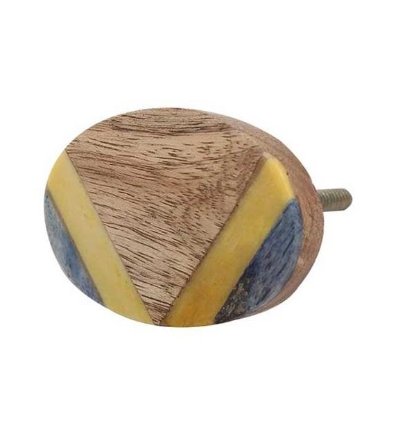 Bouton de meuble ethnique en bois - jaune et bleu - Boutons Mandarine