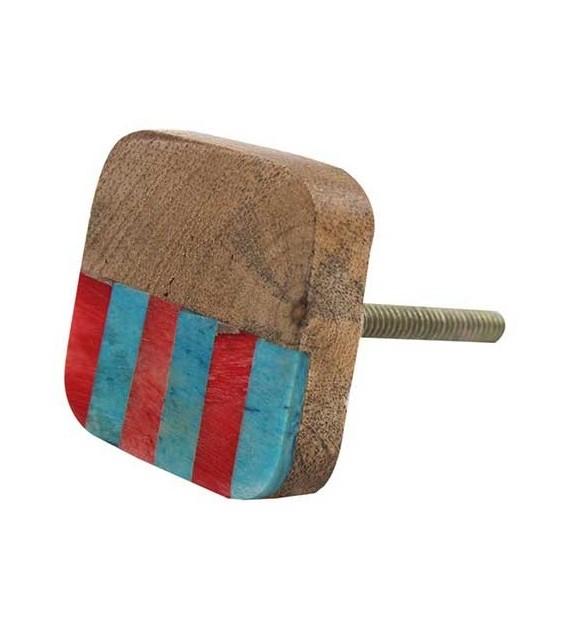Bouton de meuble ethnique en bois - rouge et bleu