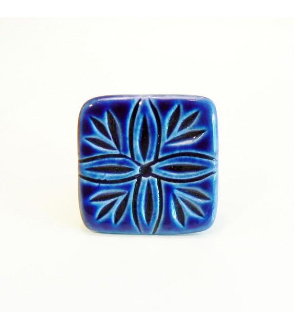 Bouton de porte Villa carré en céramique bleue, motif lys - Boutons Mandarine