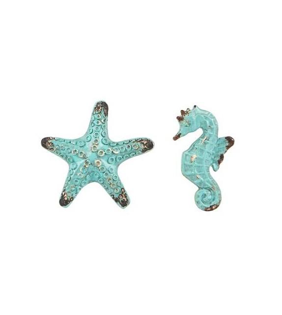 Boutons de meubles étoile de mer et hippocampe - Collection Bord de mer - Boutons Mandarine