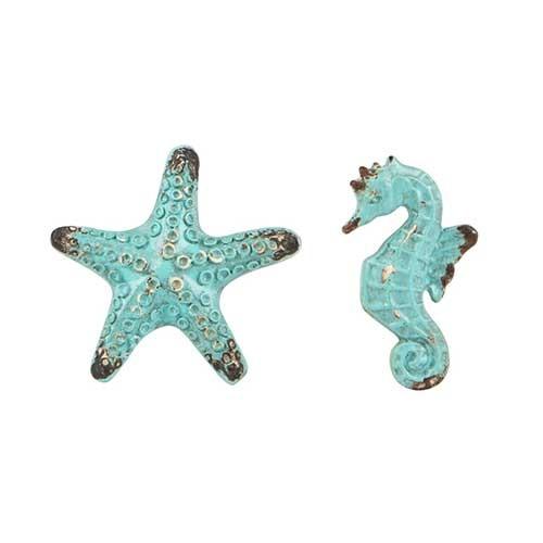Boutons de meubles étoile de mer et hippocampe - Collection Bord de mer