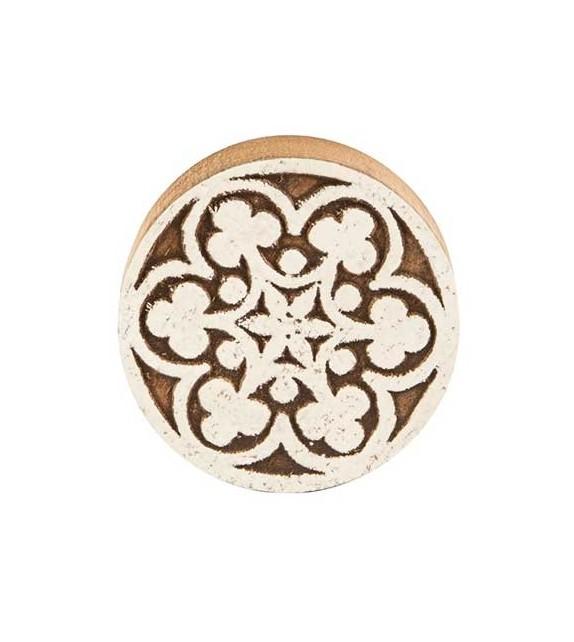 Gros bouton de meuble mosaïque blanche et bois