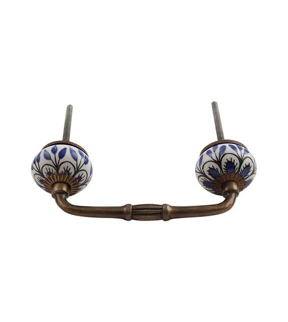 Poignée de meuble métal et porcelaine Pétunia - Boutons Mandarine