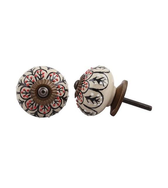 Bouton de meuble en porcelaine Fleur noire - Boutons Mandarine