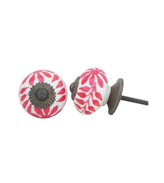 Bouton de meuble en porcelaine motif floral rouge - Boutons Mandarine