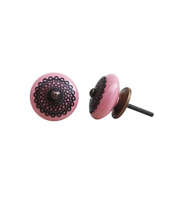 Bouton de meuble en porcelaine rosace arabesque - Boutons Mandarine
