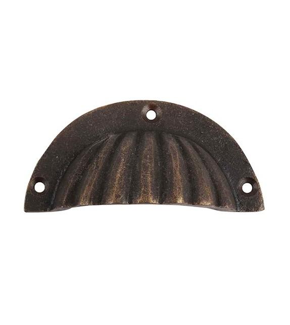 Poignée de meuble antique coquille zamac bronze - Boutons Mandarine