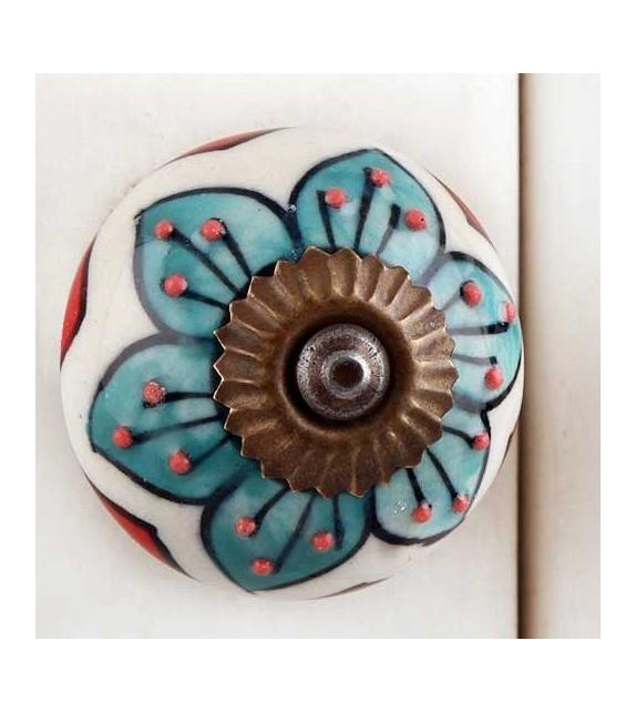 Bouton de meuble en porcelaine grande fleur bleue - Boutons Mandarine