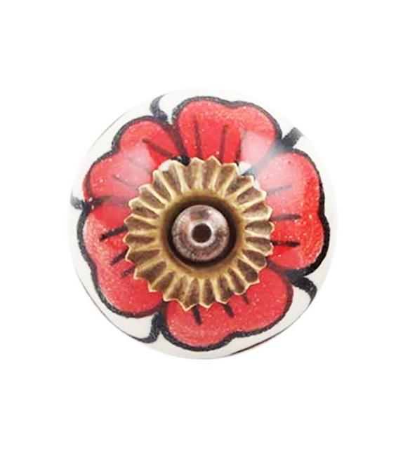 Bouton de meuble en porcelaine grande fleur rouge - Boutons Mandarine