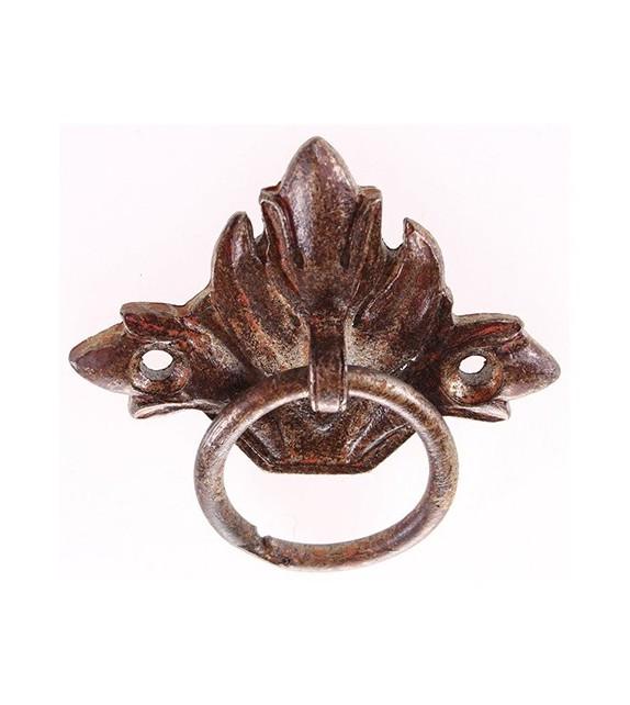Poignée de meuble pendant Fleur de Lys avec anneau