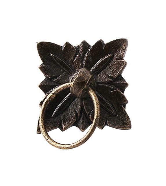 Bouton de meuble avec anneau 4 feuilles