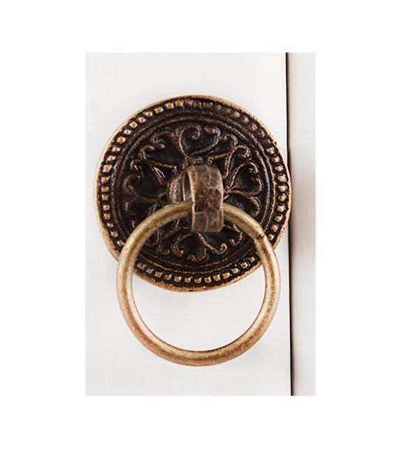 Bouton de meuble rond avec anneau et ornements